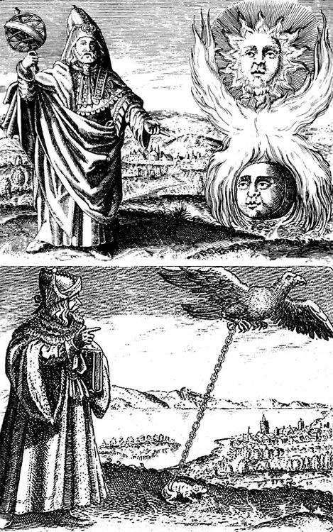 (1) Hermes Trismegistus and the creative fire that unite the polarities. (2) Mercury and sulphur as eagle and toad  D. Stolcius vn Stolcenbeerg, Viridarium chymicum, Frankfurt, 1624