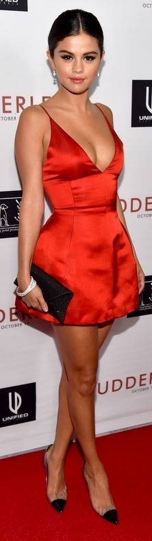"""Who made Selena GomezРІР'в""""ўs red satin dress, clear pumps and black clutch handbag that she wore in Los Angeles on October 7, 2014 https://www.pinterest.com/olgatoptour/dior-runway https://www.pinterest.com/olgatoptour/dior-rose https://www.pinterest.com/olgatoptour/dior-ring Hey @poepoeman, @tiarnee1619, @digitaltourbus, @teespiration! What are you thinking about this #DIOR pin?"""