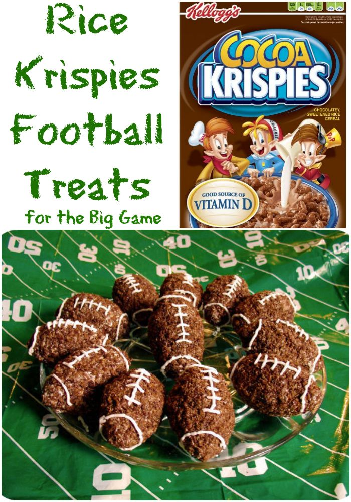 Rice Krispies Football Treats for your tailgating party! Click through for recipe!