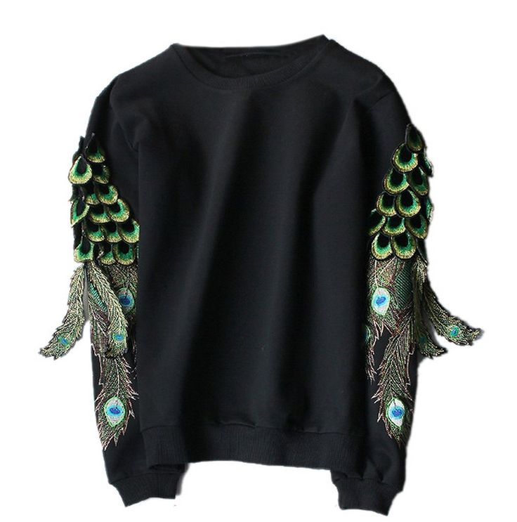 Amazon | (スマイル ワキキ)Smile YKK レディース メンズ ゆったり長袖スウェット カットソー Tシャツ トレーナー プルオーバー パーカー クルーネック スポーツウエア カジュアル 孔雀の羽刺繍 | トレーナー・パーカー 通販