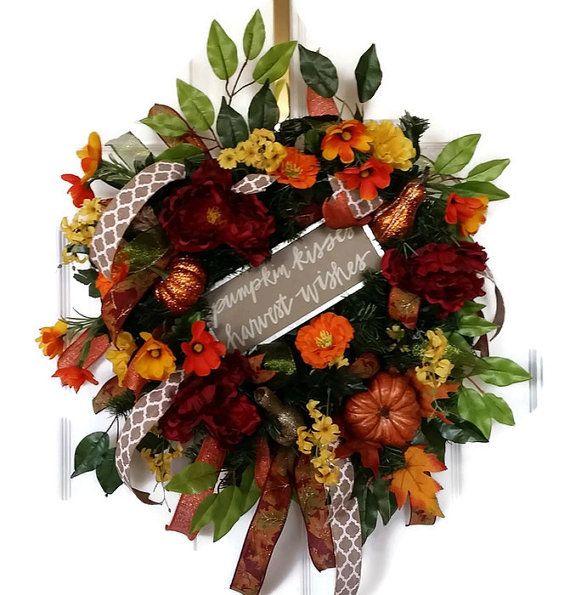 Fall Wreath for Front Door, Autumn Wreath, Pumpkin Wreath, Harvest Wreath…