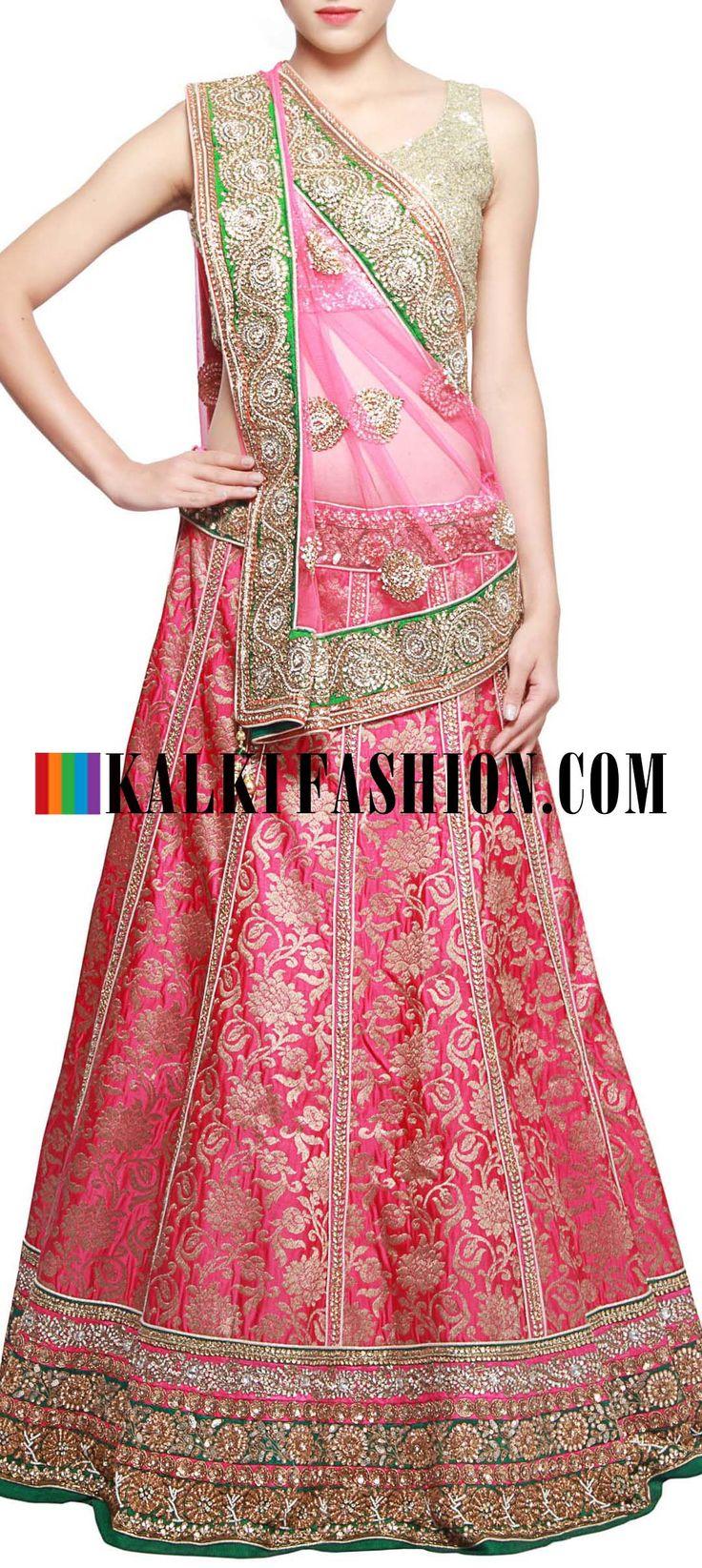 Get this beautiful lehenga here: http://www.kalkifashion.com/pink-brocade-lehenga-adorn-in-kundan-embroidery-only-on-kalki.html Free shipping worldwide.
