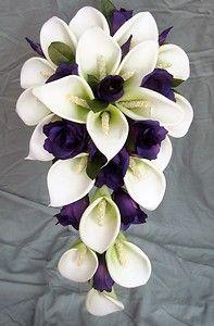 I like the shape - with more colors. Wedding Bouquet - White Latex Foam Calla Lily & Purple Lisianthus Teardrop