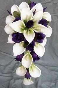 I like the shape - But want Blue Wedding Bouquet - White Latex Foam Calla Lily & Purple Lisianthus Teardrop