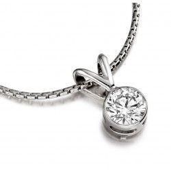 Pandantiv cu Diamant Solitaire Aur Alb 9kt cu Diamant Rotund Briliant in Setare Rub-Over si Lantisor - RDP015/9W