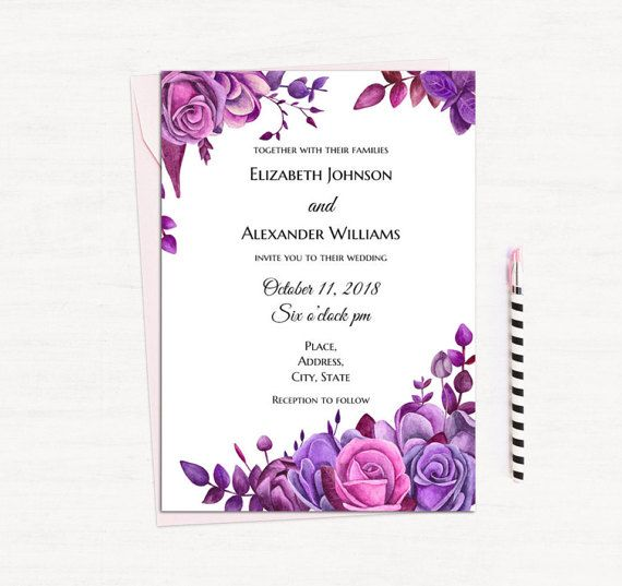 b246deeed214bd2ada9741bbf86cca5d  purple roses invitation templates