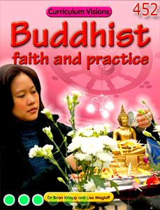Digital textbook on Buddhist faith and practice, featuring what it means to be a Buddhist, the life of Buddha, worship, monks and nuns, sacred writing and symbols, and Buddhist festivals