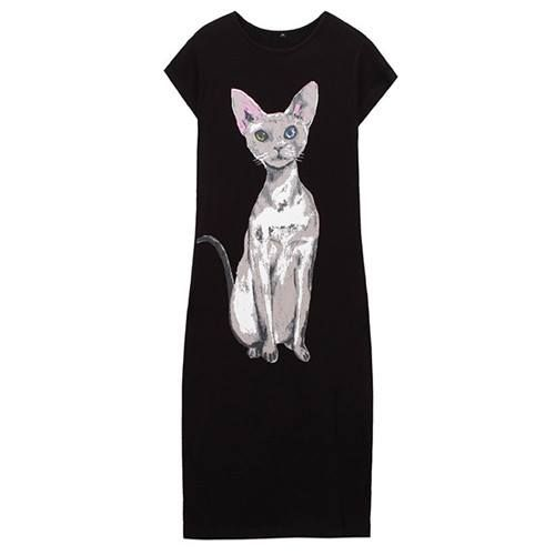 Heterochromia Cat Dress Black