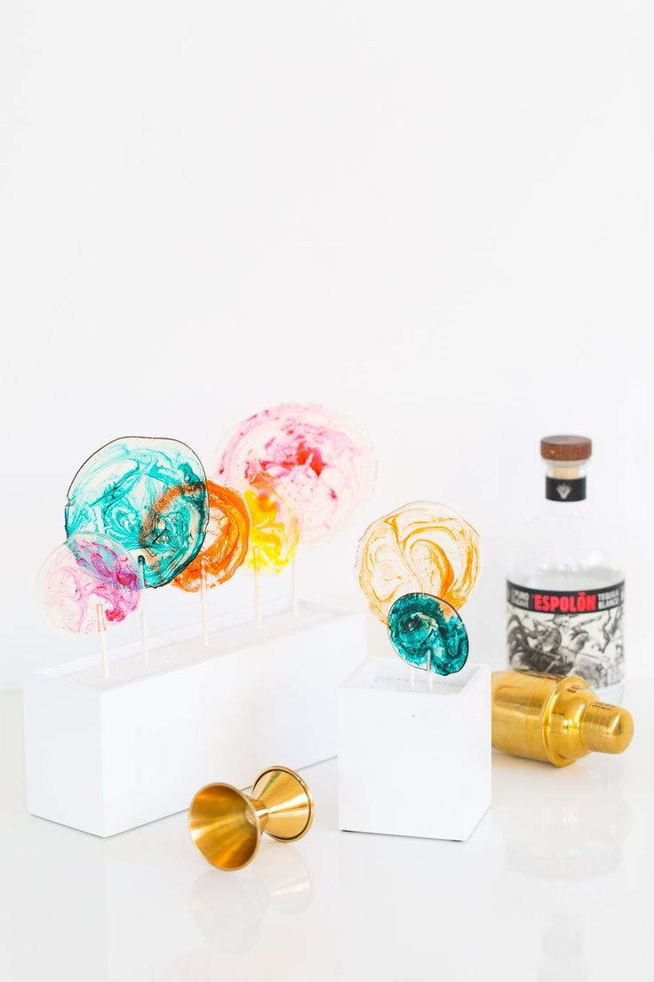 marbled DIY spiked lollipops - sugar and cloth - recipe Can also make these with Jolly Ranchers and hard liquor