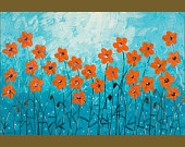 "36"" Original Modern Heavy Texture Palette Knife Gallery Wrapped Canvas Painting Flower Landscape Wall Decor  ""Orange Poppies on Blue"""