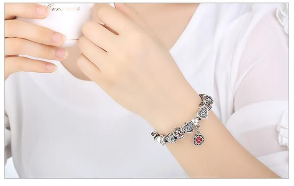 Love Bead Charm Silver Bracelet.  Up To 75% OFF + FREE SHIPPING!  #Bracelet #FreeShipping #DazzlingSeaJewelry