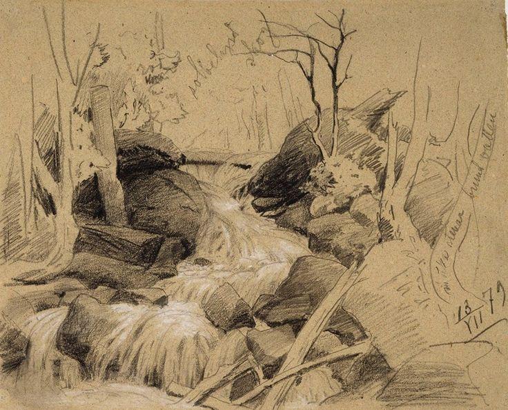 Fanny Churberg (Finnish painter) 1845 - 1892 Suomalainen Maisema (Finnish Landscape), 1879 pencil and white gouache 28 x 34.5 cm. Ateneumin Taidemuseo, Helsinki, Finland