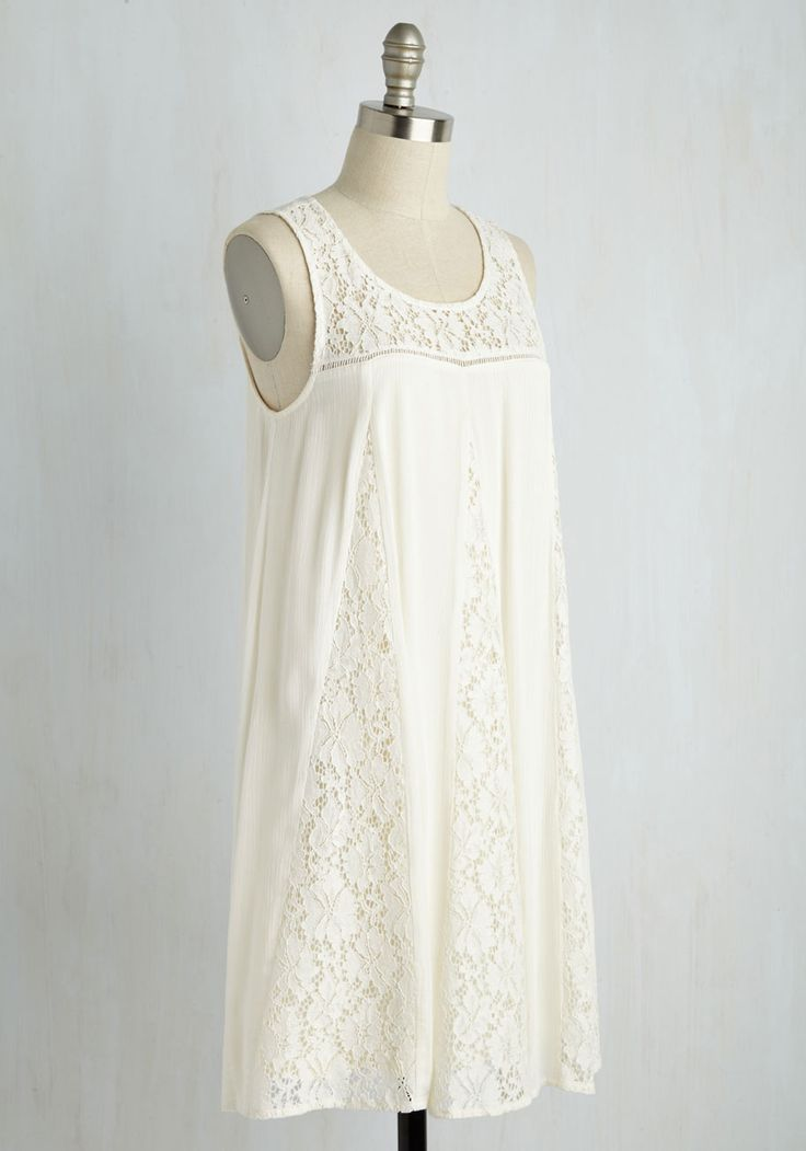 Merriment to Be Dress. Just one twirl in this white shift dress and youll know it was a match made in heavenly. #white #modcloth