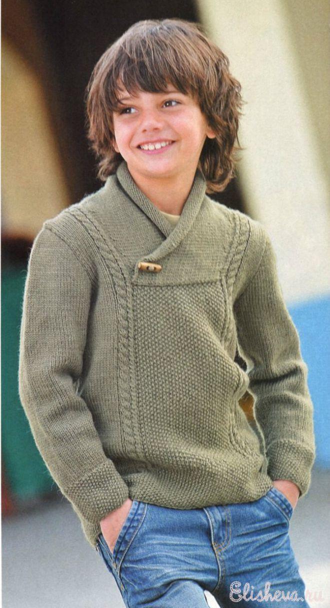 Пуловер цвета хаки для мальчика.