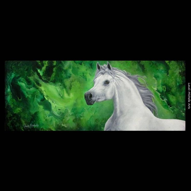 Emancipation,  Oil on Canvas by Landi-Michelle  #LandiMichelleArts #whitehorse #magical #whitearabian #oilpainting #horseofinstagram #green #galaxy #equineartist #lovehorses #cheval #equine
