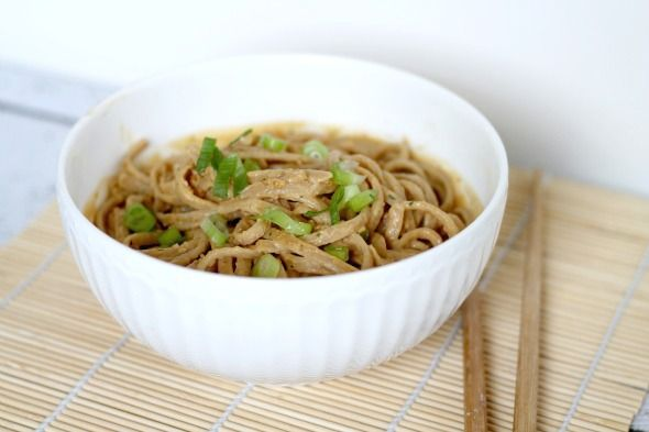Thai Peanut Sauce with Whole Wheat Noodles- I would have to add chicken to this to make it fly w/ my boys. ;) @Julie Murkerson