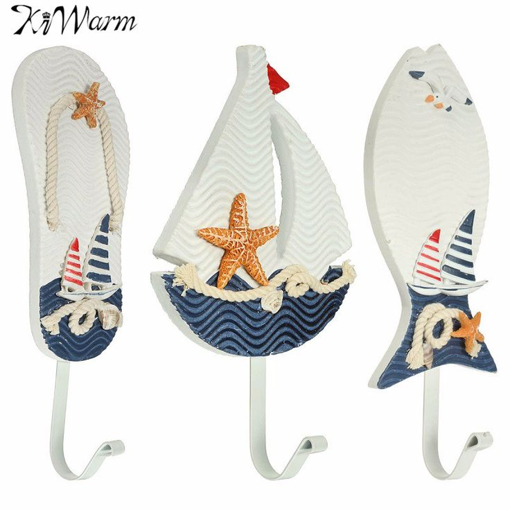 KiWarm Mediterranean Style Wooden Nautical Coat Hat Clothes Towel Wall Hooks Hangers Statues For Home Hanging Decor Ornaments