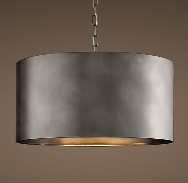 Would look great with concrete counter tops.   Antiqued Metal Drum Pendant Antique Silver Large @Restoration Hardware