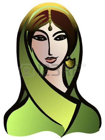 Vector gr�fico, art�stico, imagen estilizada de la mujer india en un sari photo