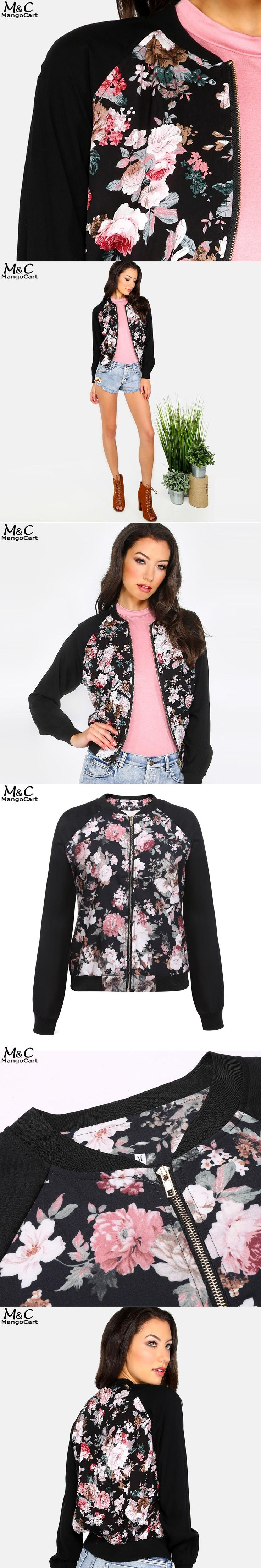 Women Bomber Jacket Coat Floral Print O-Neck 2017 Casual Zipper Jackets Women Autumn Jacket Coat Long Sleeve Outwear Jackets