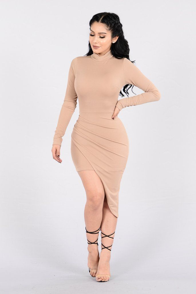 - Available in Taupe and Charcoal - Mock Neck - Long Sleeve - Back Zipper - Asymmetrical Hemline - 95% Polyester, 5% Spandex