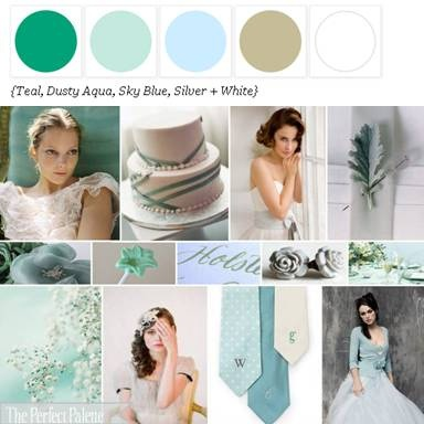 Color Palette: Teal, Dusty Aqua, Sky Blue, Silver and White