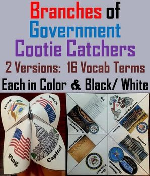 These cootie catchers/ fortune tellers are a great way for students to have fun while learning about the Three Branches of Government. How to Play and Assembly Instructions are included.These Cootie Catchers contain the following:1.