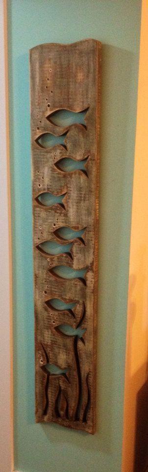 Grey Wood Art Fish School Sign Wall Decor Beach by CastawaysHall: