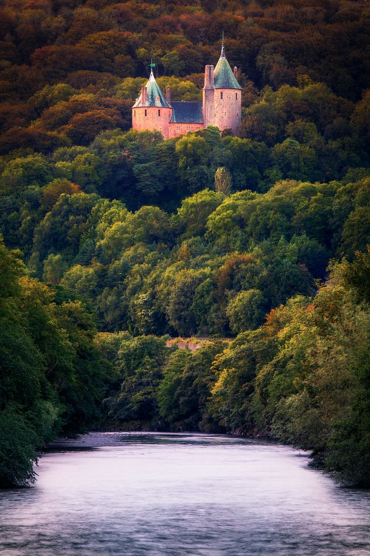 Coch Castle from the footbridge, Tongwynlais, Cardiff, Wales