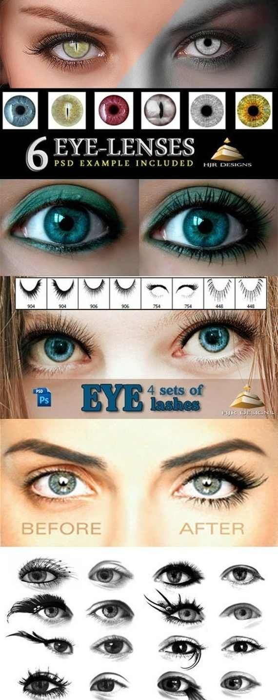 Eyes and Lenses Photoshop Brushes Type: ABR. Size: 10 mb. Collection of brushes for image processing. Subject material - lenses for the eyes and eyelashes. Lenses with different shape of pupils and different colors. Creative, lush and long lashes. DOWNLOAD download
