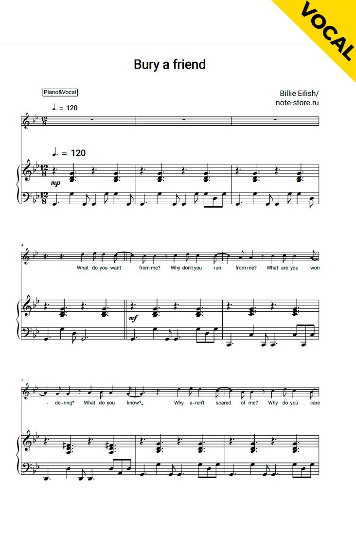 Bury A Friend Piano Vocal Clarinet Sheet Music Sheet Music