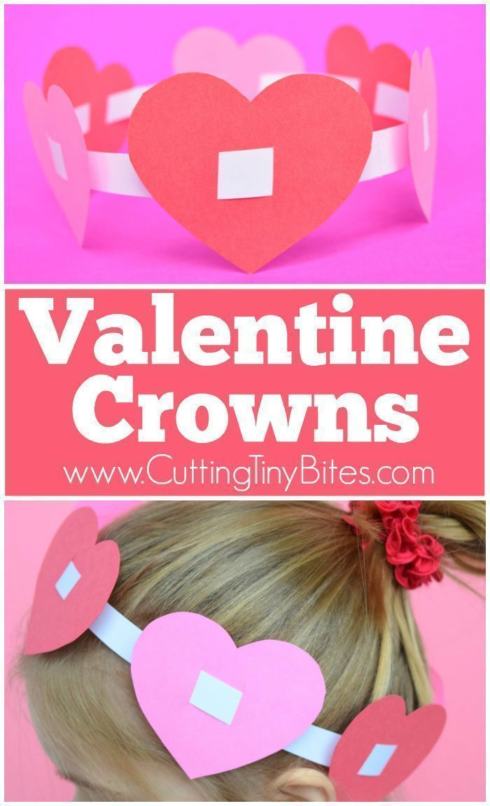 Valentine Crowns  Easy Paper Craft For Kids. Simple Hearts Threaded On A  Headband Make