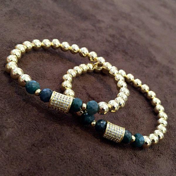 Bracelets By Vila Emerald Stone And Classic Charm