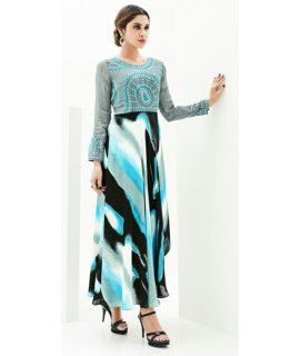 Teriffic Grey And Blue Indo-Western Georgette Kurti.