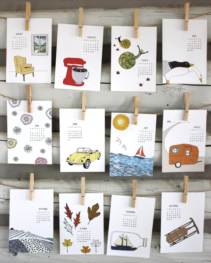 2013 calendar -  2013 Illustrated Wall Calendar. $25.00, via Etsy.
