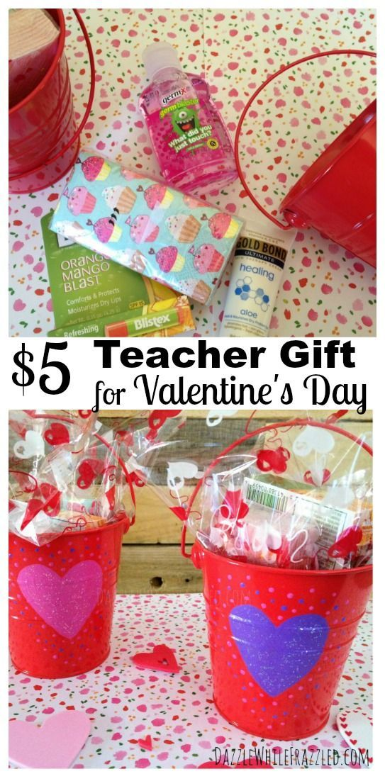 """DIY Valentine's Day gift for teachers created for $5. Create teacher non-food Valentine's Day """"survival kit"""" to show teacher appreciation and love."""