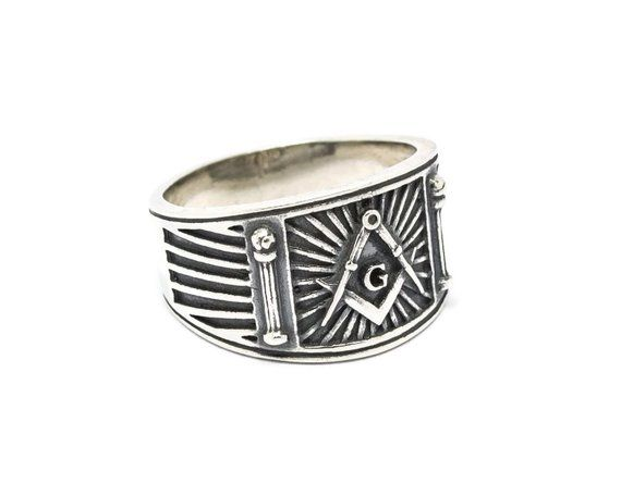 925 Sterling Silver Masonic Ring Skull /& Bones Freemason Square and circle