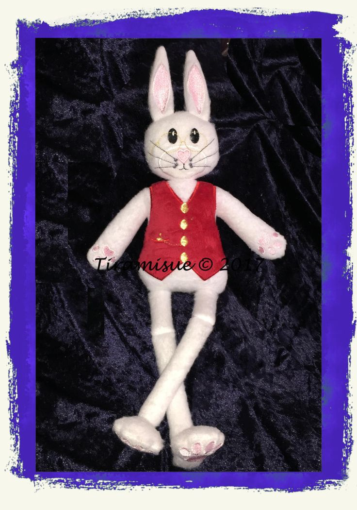 Mr Guthrie - White Rabbit for the 8x12in/200x300m Hoop -  Machine Embroidery Design by Tiramisue2 on Etsy