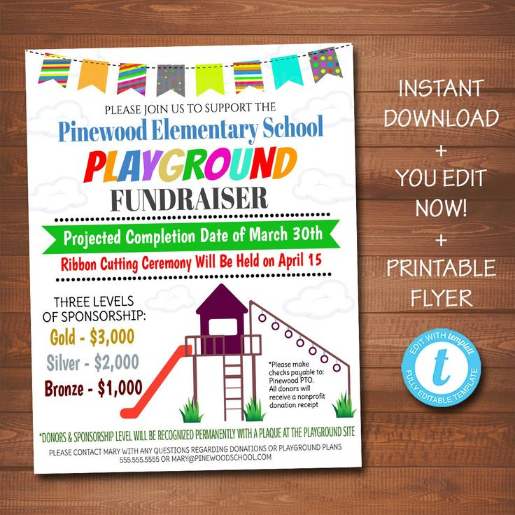 EDITABLE Playground Fundraiser Flyer, pto pta, Church Neighborhood Faculty Profit Occasion, Child's Faculty Daycare Park Profit, INSTANT DOWNLOAD