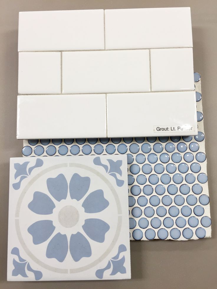Cement Look Patterned Tile Blue Penny Rounds White