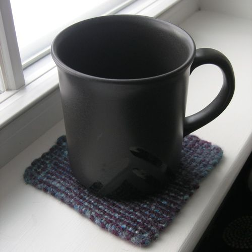 Felted woven squares make quick and easy coasters. >> Finished Project: Terra Coasters : Grin and Frog It