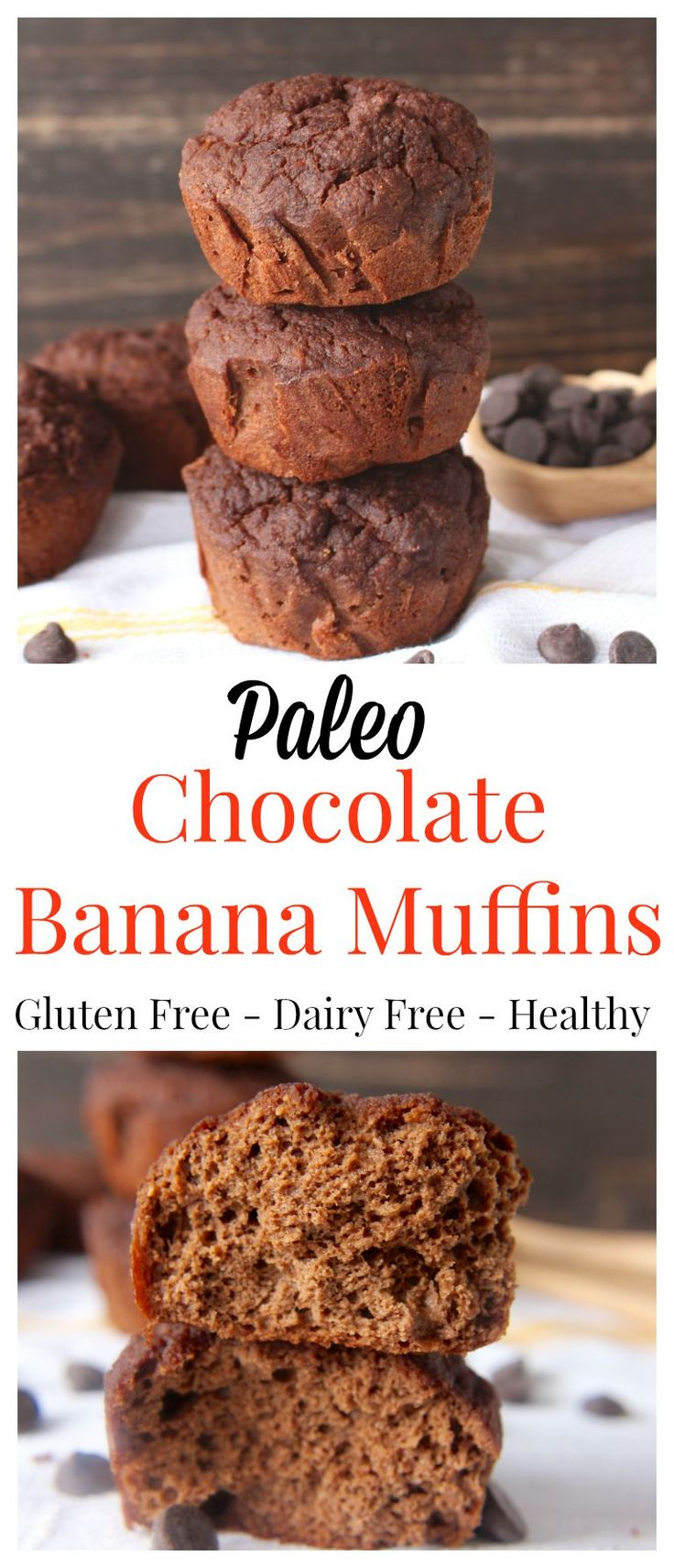 Paleo Chocolate Banana Muffins- easy, delicious, healthy. The best breakfast or dessert. Gluten free, dairy free, and naturally sweetened.