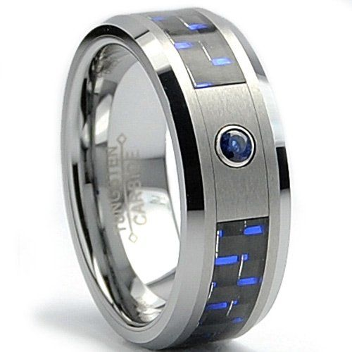 men's wedding bands with diamonds  sapphires | ... SAPPHIRE .050 Carat  BLACK/ BLUE Carbon Fiber Inlay Wedding Band Size
