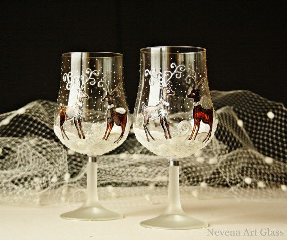 Christmas Decorations With Wine Glasses: Wine Glasses, Candle Holders, Winter Glasses, Christmas