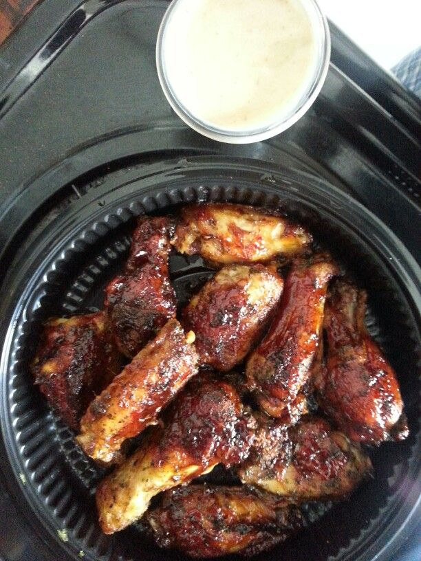 Asian Baked Wings  sesame seed oil, bar b que sauce asian zing marinade or asian zing from buffalo wild wings. bake until the skin starts to melt off at 395-400 usually takes 2 hours depending on the oven. mix sauces and oil then put back in the oven for 10 min... you can make a wasabi & ranch  soy sauce & ranch or ginger paste and ranch for a dip