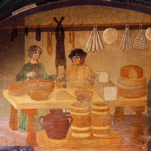 c.1495 Fresco, Castello di Issogne, Val d'Aosta, north west Italy,   (Affresco castello Issogne)