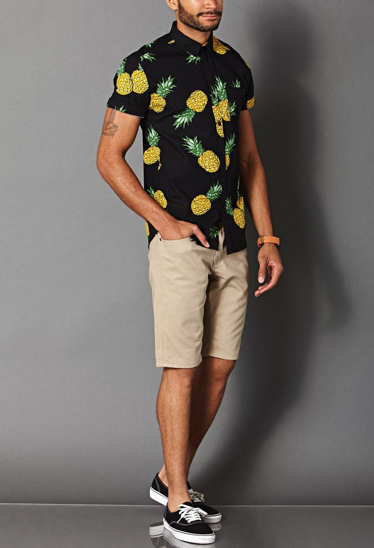 Pineapple Print Cotton Shirt | FOREVER 21 MEN
