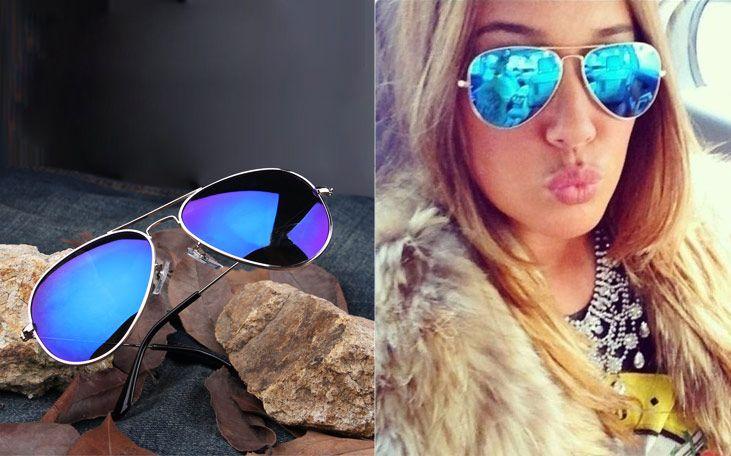 Full Blue Mirrored Aviator Sunglasses Dark Tint Lens Silver Frame US $2.49