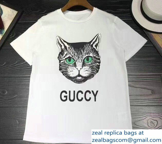 f87a933f81a6 Gucci T-shirt Guccy Cat White 2018 | Luxury Clothes in 2019 | Shirts ...