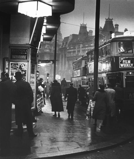 Charing Cross Road in 1937, a photograph by Wolfgang Suschitzky